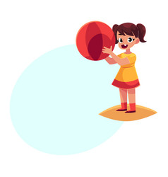 little girl with inflatable ball standing on beach vector image vector image