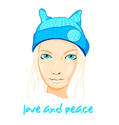 Peace girl vector image