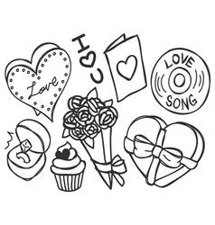 valentine doodle vector image