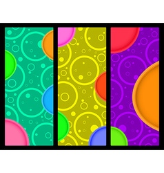 3 vertical banner with circles and circles with vector