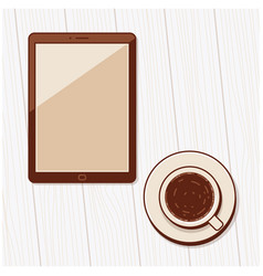 a cup of coffee and blank tablet computer vector image