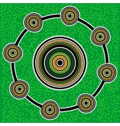 Aboriginal art background Green vector image