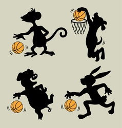 Animal Playing Basketball Silhouettes vector image vector image