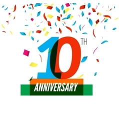 Anniversary design 10th icon anniversary vector image