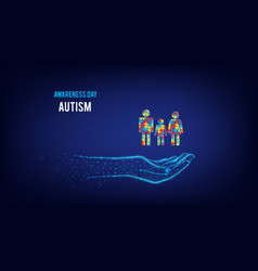 Autism awareness day family mom dad child vector
