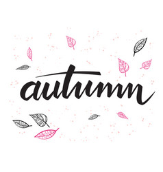 Autumn hand lettering label with doodle vector