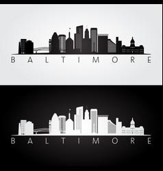 Baltimore usa skyline and landmarks silhouette vector
