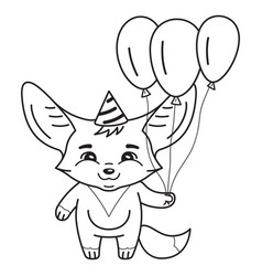 black and white cute fennec fox in a party hat vector image