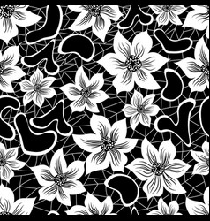 black and white seamless floral pattern vector image