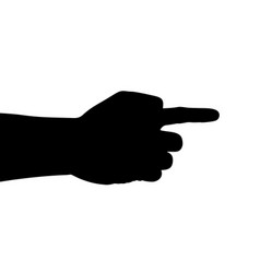 black hand silhouette pointing finger vector image