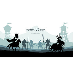 black silhouette of battle orcs and humans vector image