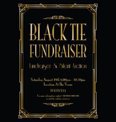 Black tie fundraiser art deco background vector
