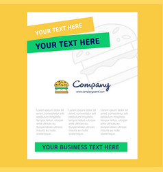 burger title page design for company profile vector image