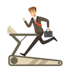 Businessman running on a treadmill vector