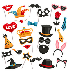 Carnival photo booth party icon set vector