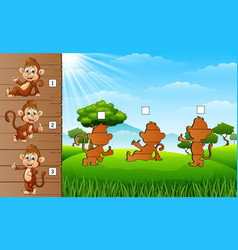 cartoon funny baby monkey collection set find the vector image