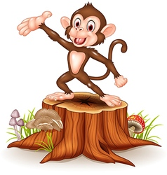 Cartoon Happy monkey presenting on tree stump vector image