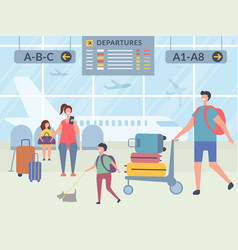 characters in airport terminal vector image