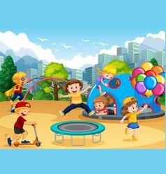Children at playground vector