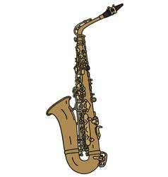 Classic brass saxophone vector