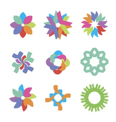 colored flower icons vector image vector image