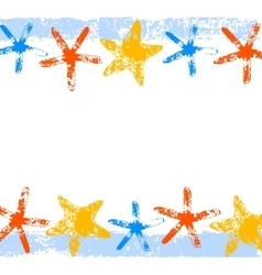 Colorful starfishes grunge print summer background vector
