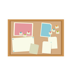 Cork board with notes message office image vector