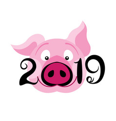 creative postcard for new 2019 year with cute pig vector image