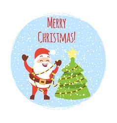 cute cartoon santa with christmas tree vector image