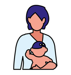 cute mother with baby daughter characters vector image