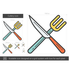 Cutlery line icon vector