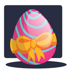 decorated easter egg with a bow web on a white vector image