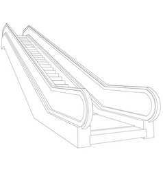 Drawing of wire-frame escalator perspective view vector
