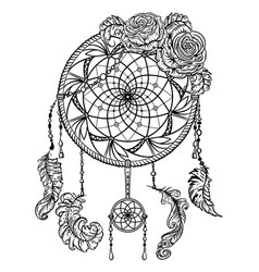 Dream catcher with ornament and roses vector