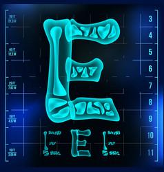 E letter capital digit roentgen x-ray vector