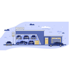 facade of auto showroom or vehicle local vector image