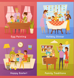 Family easter concept 4 flat icons vector