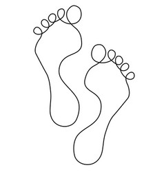Feet one line drawing vector