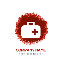 First aid medical kit icon - red watercolor vector