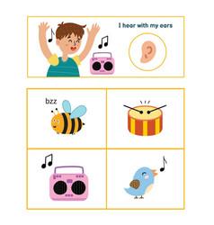 five senses poster hearing sense presentation vector image