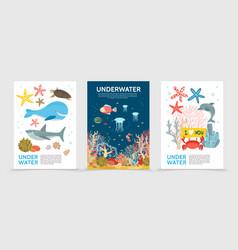 flat colorful underwater life brochures vector image