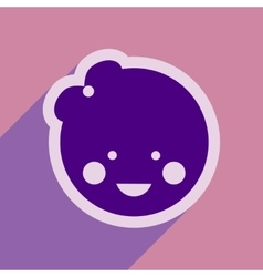 Flat icon with long shadow baby girl vector