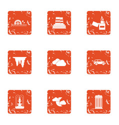 Give energy icons set grunge style vector