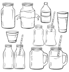 Glass bottles sketches set vector