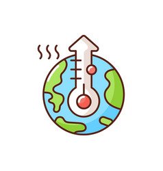 Global warming rgb color icon vector