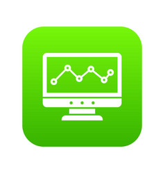 graph in computer screen icon digital green vector image