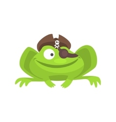 Green frog funny character with pirate hat and eye vector