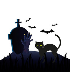 Halloween tomb with cat and hand zombie vector