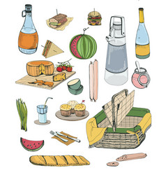 Hand drawn picnic items set collection with vector
