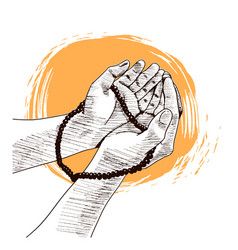 Hand praying drawn on white background vector